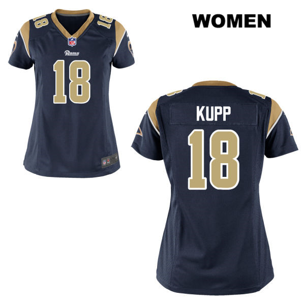 7473bfe5d Stitched Cooper Kupp Home Womens Navy Nike Los Angeles Rams Elite no. 18  Football Jersey