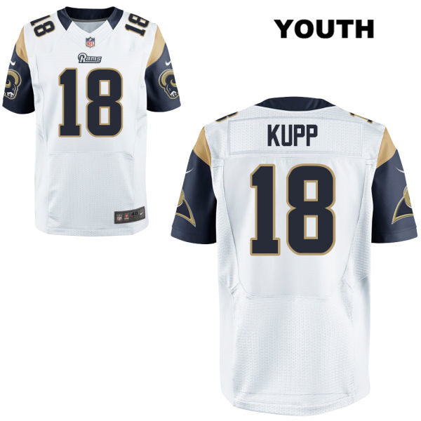 21b9c8fc57f Alternate Cooper Kupp Stitched Youth Nike White Los Angeles Rams Elite no.  18 Football Jersey