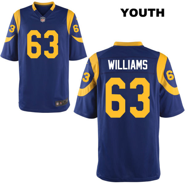 finest selection 153e7 8ffa0 Nike Darrell Williams Youth Blue Alternate Los Angeles Rams Stitched Elite  no. 63 Football Jersey