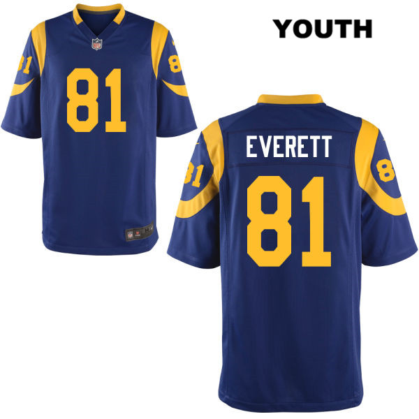 half off 8557f 5a005 Gerald Everett Youth Blue Alternate Los Angeles Rams Nike Game no. 81  Football Jersey