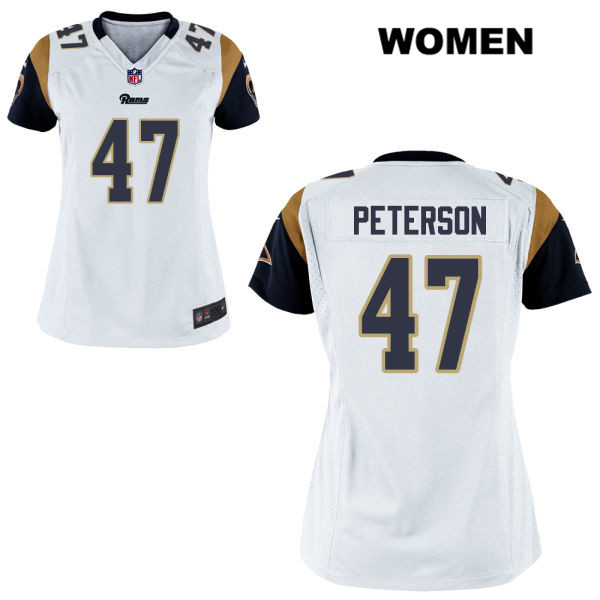 sale retailer 344ee 1b355 Kevin Peterson Alternate Womens Stitched White Los Angeles Rams Elite Nike  no. 47 Football Jersey