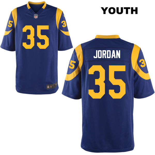 half off 5d458 48026 Michael Jordan Youth Nike Alternate Blue Los Angeles Rams Game no. 35  Football Jersey