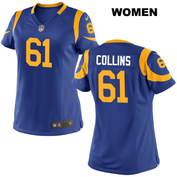 Stitched Parker Collins Womens Blue Los Angeles Rams Nike Elite